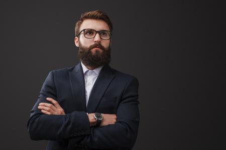 Trendy bearded man in suit Stock Photo