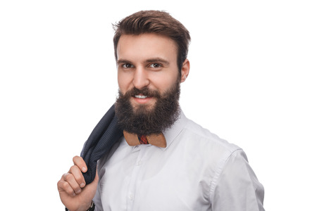 Stylish gentleman with beard on white