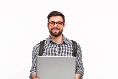 Content student with laptop on white