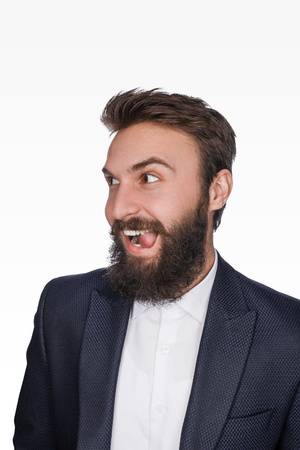 Childish bearded man in suit 版權商用圖片