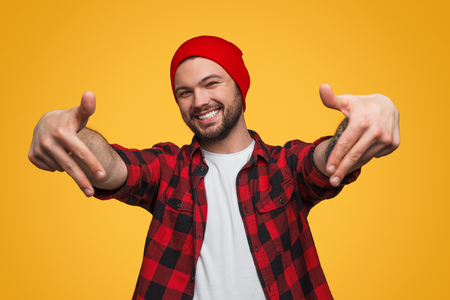 Man showing rapper move in studio Stock Photo