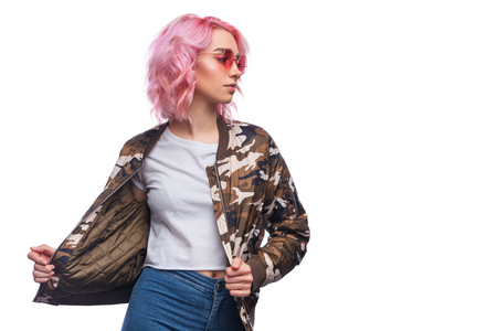 Modern millennial model with pink hairstyle Stock Photo