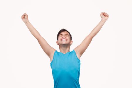 Sporty boy celebrating victory
