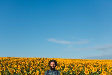 Cheerful man near sunflower field Stock Photo