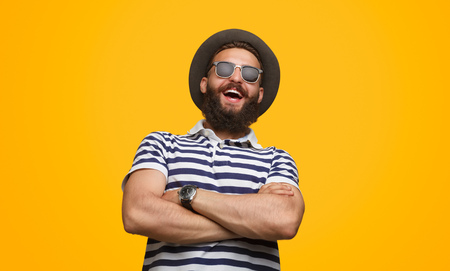 Confident stylish man laughing loudly Stok Fotoğraf