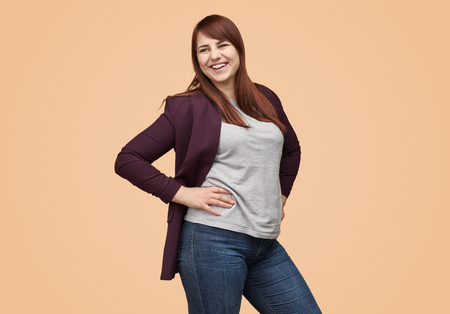 Contemporary plus-size model in casual outfit