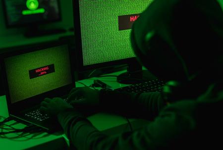 Unrecognizable male hacking database Stock Photo