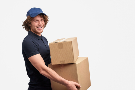 Cheerful courier of free shipping service