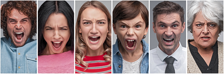 Collection of people showing anger and stress Banco de Imagens