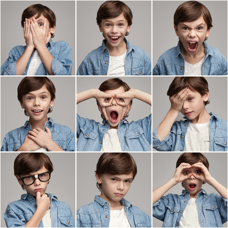 Collage of boy showing different emotions