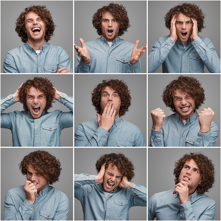 Casual man in collage showing emotions Banco de Imagens