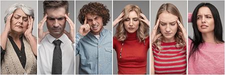 Stressed men and women having headache