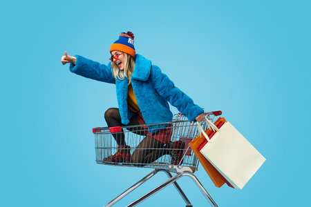 Young woman approving crazy shopping Standard-Bild