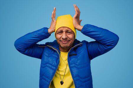Black guy having headache Reklamní fotografie