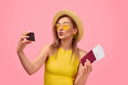 Female tourist preparing to go on vacation