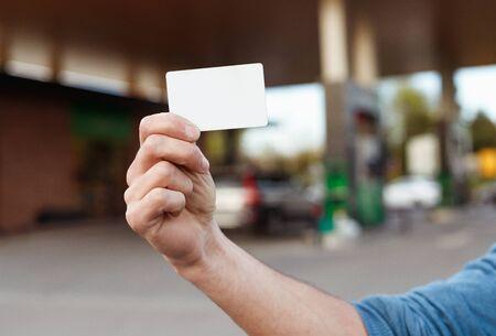 Crop hand showing blank fidelity card Reklamní fotografie