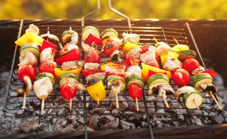 Delicious chicken and vegetables frying on grill Stock Photo