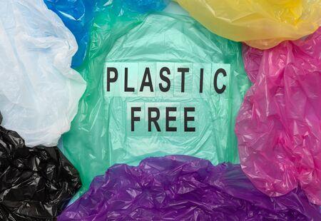 Colorful plastic bags composition