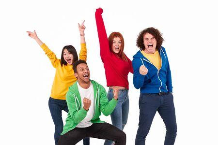 Cheerful multiracial winners celebrating success Stockfoto