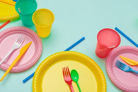 Set of colorful plastic dishware
