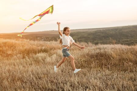 Cheerful girl with kite in field Foto de archivo - 130114385