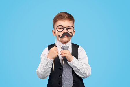 Little gentleman with glasses and moustache Imagens