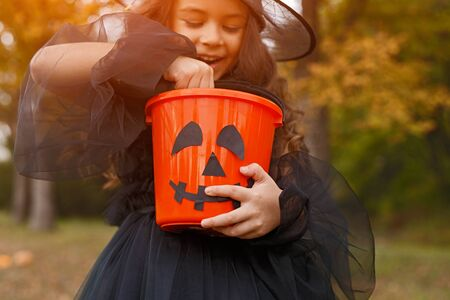 Cheerful witch examining trick or treat bucket
