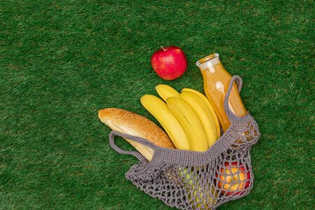 Cotton bag with healthy food