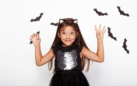 Funny little girl with scary hands