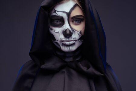 Pensive female with Halloween makeup 版權商用圖片