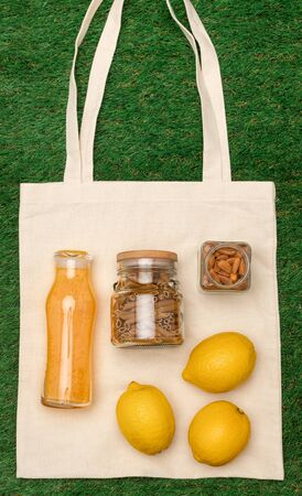 Fabric bag with healthy food
