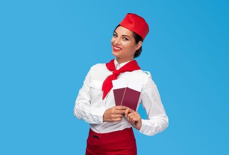 Friendly stewardess during passport check