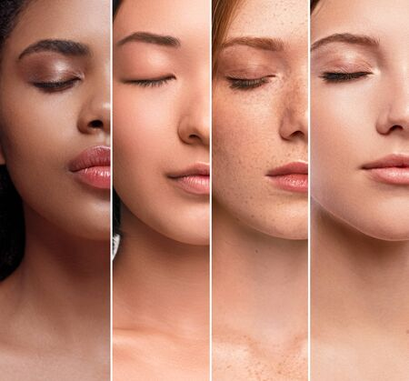 Crop multiethnic women with perfect clean skin Standard-Bild - 139187946