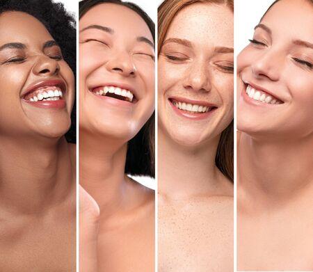 Diverse cheerful women with clean white teeth Standard-Bild - 139189782