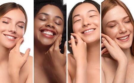 Happy diverse women enjoying skin softness