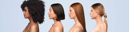 Multiethnic young ladies with clean skin standing in line