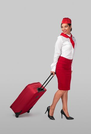Delighted stewardess with luggage before flight