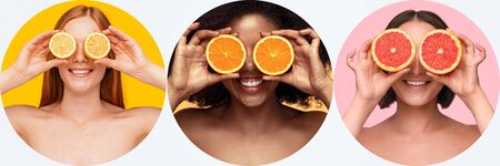 Diverse ladies with various citruses near eyes