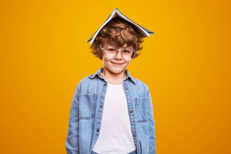 Positive schoolboy with book and glasses Banco de Imagens - 143073127