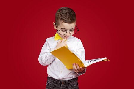 Smart boy in glasses reading textbook Banco de Imagens - 143073136