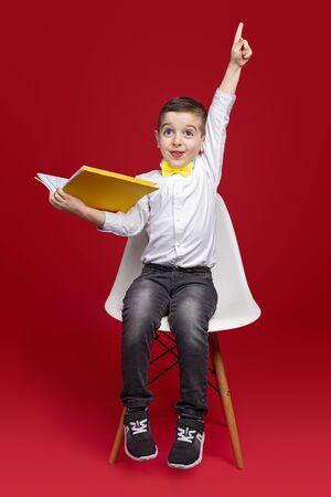 Funny schoolboy raising arm during lesson Banco de Imagens - 143073137