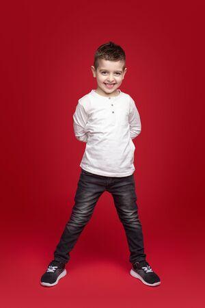 Funny boy in trendy clothes Banco de Imagens - 143073139