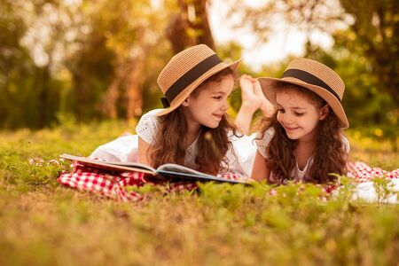 Happy twins reading book during picnic Banco de Imagens