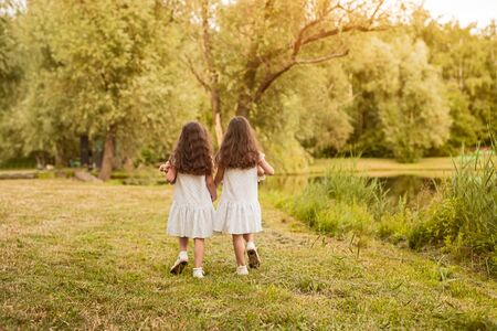 Back view of unrecognizable little sisters in similar white dresses with plush toys in hands walking together on green meadow near lake in summer park Banco de Imagens - 143046571