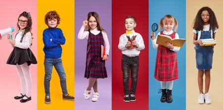 Multiethnic little schoolgirls and schoolboys against colorful background Banco de Imagens - 143047613
