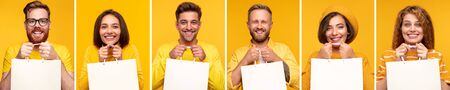 Cheerful people with blank shopping bags