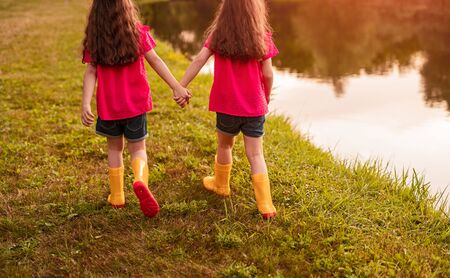 Back view of anonymous girls in colorful clothes holding hands and walking on grassy coast near pond together on summer day in park