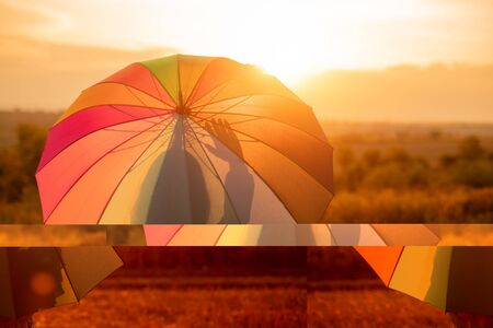Back view of unrecognizable female with colorful umbrella admiring sunset and waving hand while searching for inspiration in evening in field