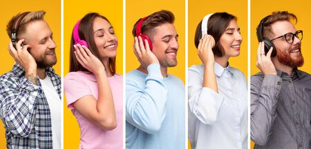 Pleased people listening to music in headphones