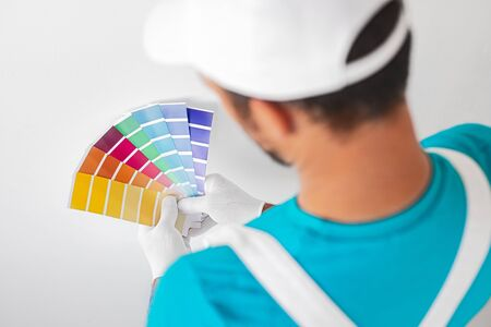 Professional decorator with palette choosing color for painting